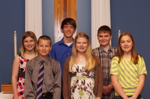 Abbey Meyer, Riley Johnson, Evan Hough, Sydney Moline (from Ithaca UMC), Connor Sells  & Sydney Sells (from Ceresco UMC)