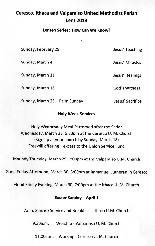 Lent and Holy Week Services